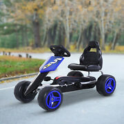 Kids Pedal Go Kart Ride On Toy 4 Wheeled Durable Metal Frame 3-6 Years Blue