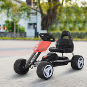 Kids Pedal Go Kart Red Ride On Toy 4 Wheeled Durable Metal Frame 3-6 Years
