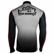 Bass Maniacs Gray Red Polypro Collection Fishing Jersey Tournament 50 Upf