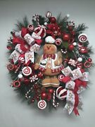 Gingerbread Man Door Wreath Winter Holiday Decor Christmas Candy Sweets