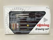Vintage Rotring Rapidograph Technical Drawing Pens Pen Set + Compass 1554276 New