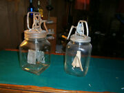 Two Large Antique 4 Quart Butter Churns - Ex Cond
