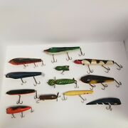 Vintage Wooden Fishing Lure Lot Of 12, Various Sizes And Colors, Look