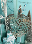 """Tiffanyandco Heart Snowflake Ornament Sterling Silver Christmas 1997 W Pouch 3"""""""