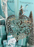 Tiffanyandco Heart Snowflake Ornament Sterling Silver Christmas 1997 W Pouch 3andrdquo