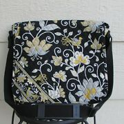 Vera Bradley Quilted Cotton Large Messenger Bag Bird Floral Pattern Made In Usa