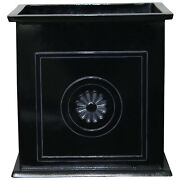 Southern Patio Colony 16 Inch Square Resin Outdoor Planter Urn, Black Open Box
