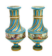 Pair Sevres France Porcelain Footed Vases 19th Century. Courting Scenes