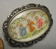 Old Art Deco Brooch Pin Silver And Marcasite W Pettipoint Of Children Under Glass