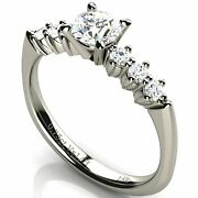 Solitaire Round Diamond Engagement Ring With Sidestones 0.75 Ct 18k White Gold