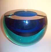 Large Cenedese Murano Sommerso Space Age Orb Blue And Aquamarine Art Glass Ashtray