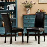 Black Leather Padded Dining Room Chairs Set Of 2 Parson High Back Chair New
