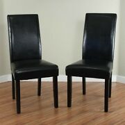 Black Leather Dining Room Chairs Set Of 2 Parson High Back Chair Furniture New