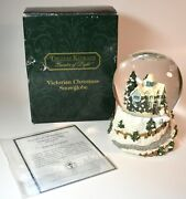 Thomas Kinkade Victorian Christmas Snowglobe Musical And Lights 2000 Excellent