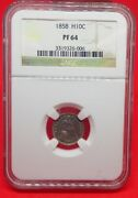 1858 Liberty Seated Half Dime, Proof Pf64. Only 100 Were Minted
