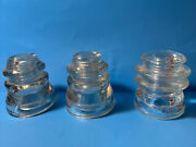 Lot Of 3 Antique All Glass Electric Insulators No Chips Or Cracks