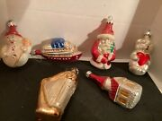 Vintage Collectible Set Of 6 Glass Christmas Ornaments Marked Poland