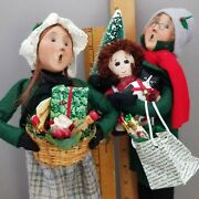 Lot Byers Choice 1997 Victorian Xmas Shoppers Couple Man Tree Woman Basket Gifts