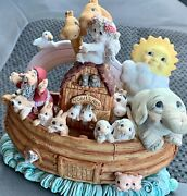 """Adorable Large 9"""" X 8"""" Dreamsicles Noah's Ark Figurine W/ Rainbow 🌈 And Animals"""