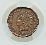 1874 Indian Cent Graded Au-50 By Pcgs Nice
