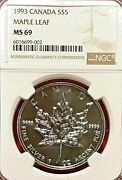 1993 5 Canada Silver Maple Leaf Ngc Ms-69