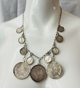 Antique Usa And Mexico Silver Coin Chain Link Drop 26 Necklace.