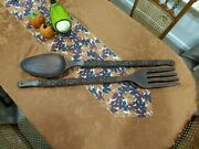 Vtg 41 Large Wooden Hand Carved Fork And Spoon Hawaiian Tiki Wall Decor 50's