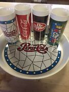 Vintage 7-up Coke Dr Pepper Pepsi With Serving Tray. Never Been Used
