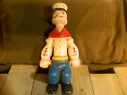8 1/2 Tall Vintage Style Cast Iron Popeye The Sailor Man Penny Dime Bank