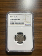 1874-p Three Cent Nickel 3cn Ngc Proof Pf 67 Cameo Rare Grade Only 700 Minted