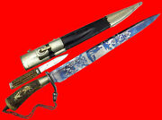 Outstanding 19th C. German Blued Damascus Hunting Bowie Knife Dagger Sword Wow