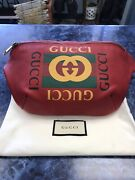 Authentic 530412 Grained Calfskin Belt Bag Hibiscus Red 11w X 8h X 3d