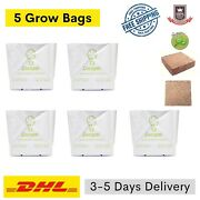 5 Open Top Grow Bags With Coco Peat Coir Slab Hydroponic Medium Free Shipping