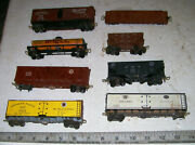 8 Vintage Quality Ho Freight Cars W/ Sprung Trucks And Hook Couplers Some Are Kits
