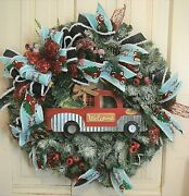 Handmade Vintage Truck Wreath Christmas Winter Frosted Pine