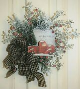 Handmade Frosted Twig And Pine Wreath With Vintage Truck Christmas Winter
