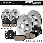 Front And Rear Black Calipers And Rotors And Pads For 2005 - 2008 Ford F150 Rwd 6 Lug