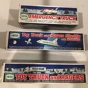 Lot Of 3 Vintage Hess Vehicles- Space Shuttle/ Truck And Racers / Emergency Mib