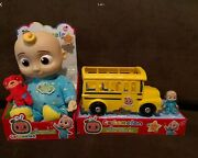 Cocomelon Jj Bedtime Doll And Cocomelon Musical School Bus Bundle Brand New