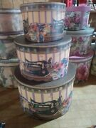 Lot Of 2 Sets Of Vintage Look Nesting Hat Boxes 3pc Set Stitch In Time Sewing