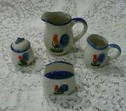 Set Of Rooster Pitcher, Sugar, Creamer And Napkin Holder Alco Industries