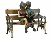 Two Kids On Bench Reading Finest Us Lost Wax Bronze Life-size Garden Sculpture