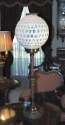 Large Fenton Coin Dot Glass Lamp Globe On Solid Heavy Bronze Base 37.5