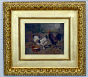 1800and039s Antique Barnyard Rooster Chicken Victorian Oil Painting By Scott Leighton