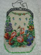 Antique Micro Beaded Purse 8 X 13 Exceptional Floral With Silver Frame