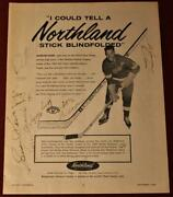 Vintage 1960 Red Wings Northland Hockey Stick Ad Signed By 7 Terry Sawchuk Howe