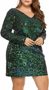 Inand039voland Womens Sequin Dress Plus Size V Neck Party Cocktail Sparkle Glitter Ev