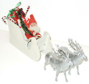 Antique German Santa Claus Paper Mache Candy Container And Sleigh And Metal Reindeer