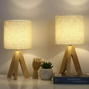 Set Of 2 Small Table Lamps - Wooden Tripod Nightstand Lamps And Fabric Linen Shade
