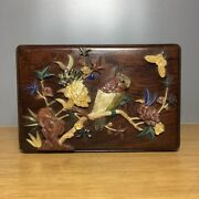 7.1 Chinese Antique Dynasty Sandalwood Gem Inlay Peony Butterfly Jewelry Box